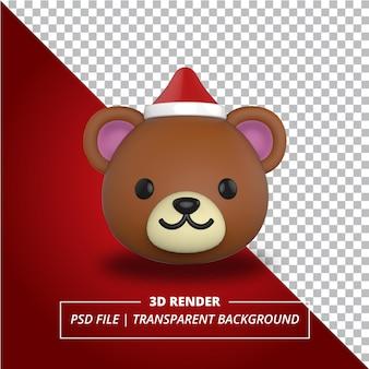 Głowa niedźwiedzia 3d ze świątecznym kapeluszem na przezroczystym tle