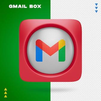 Gmail box w renderowaniu 3d na białym tle