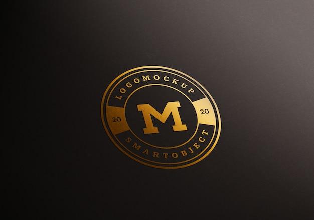 Gold logo mockup premium psd