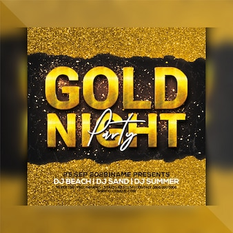Gold night party flyer