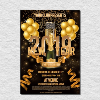 Golden New Year Celebration Flyer