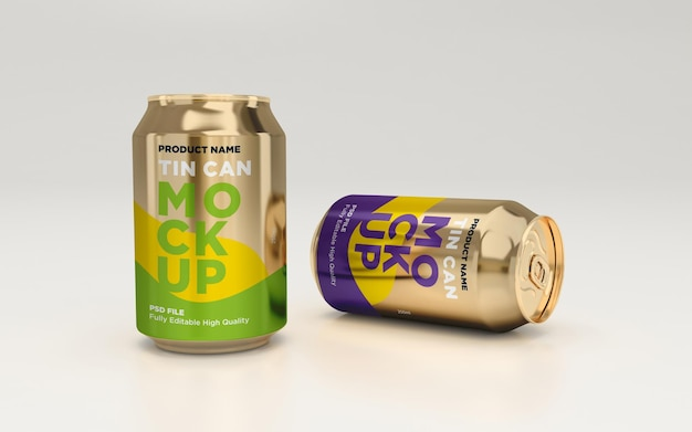 Golden soda can drink beverage psd mockup