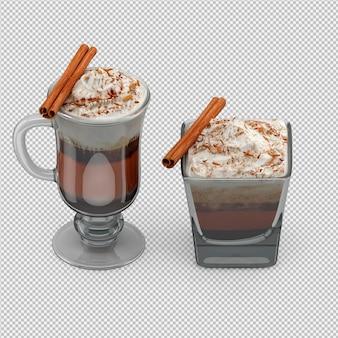 Gorący render cappuccino 3d