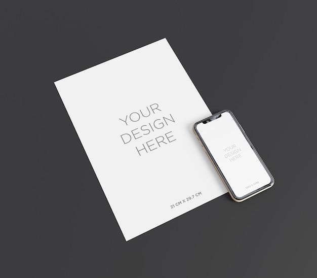 Gotowa do użycia makieta papieru a4 z widokiem perspektywicznym smartfona