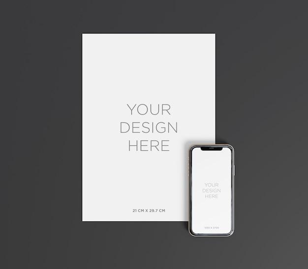 Gotowa do użycia makieta papieru a4 z widokiem z góry smartfona