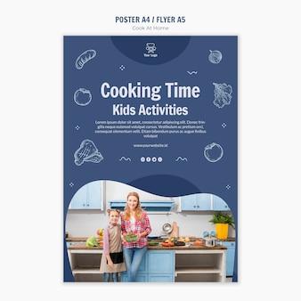 Gotowanie w domu plakat szablon