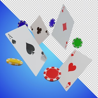 Gra w karty poker chip 3d na białym tle