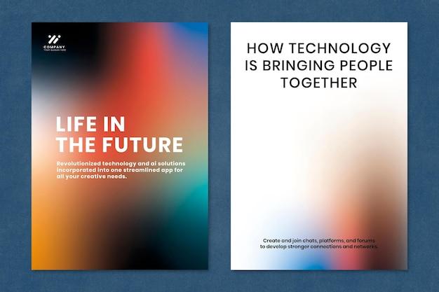 Gradient tech marketing szablon psd plakat podwójny zestaw
