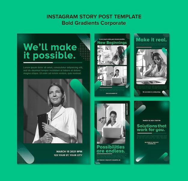 Gradientowa kolekcja opowiadań na instagramie dla kariery korporacyjnej