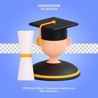 Graduation 3d render ilustracja na białym tle premium psd