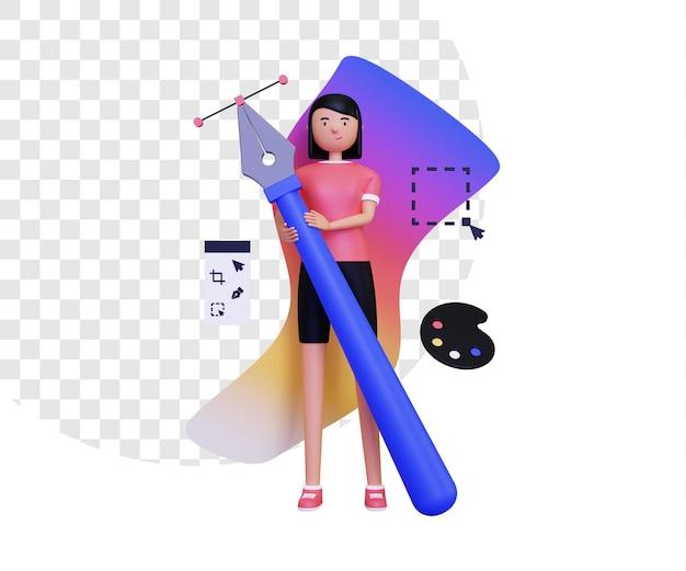 Grafik 3d z kobiecą postacią trzymającą narzędzie pióra