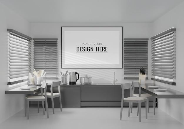 Grafika ścienna lub ramka na zdjęcia mockup on kitchen room interior