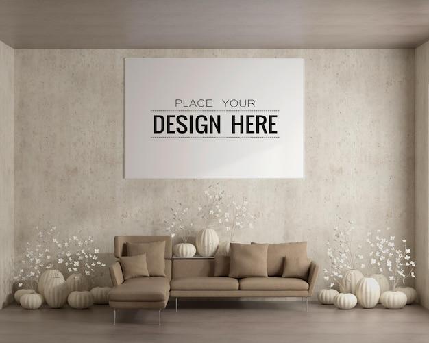 Grafika ścienna lub ramka na zdjęcia w salonie makieta