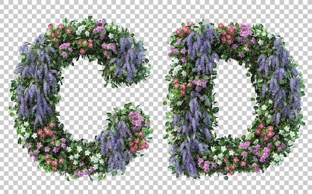 Grafika trójwymiarowa pionowego alfabetu kwiat ogród c i alfabet d na białym tle