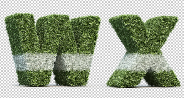 Grafika trójwymiarowa trawy alfabetu w i alfabetu x