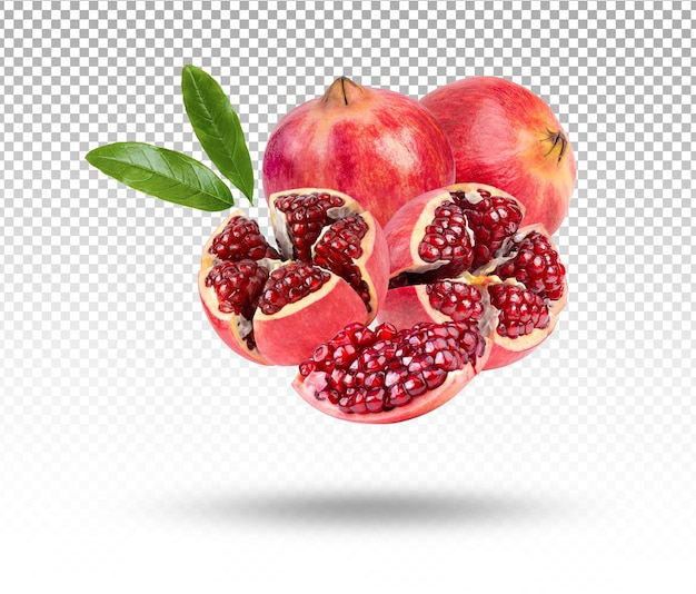 Granat dojrzałe słodkie owoce na białym tle