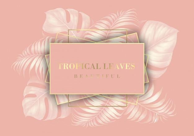 Granicy liści palmowych tropikalnych dla karty z zaproszeniem.