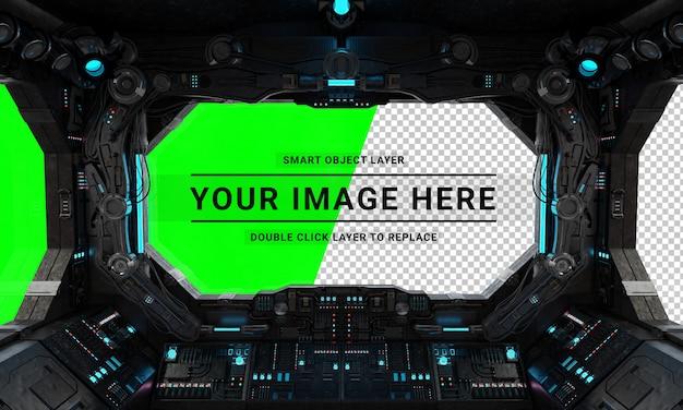 Grunge statku kosmicznego futurystyczne wnętrze z wyciętym oknem