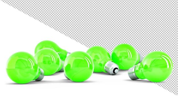 Grupa zielonych żarówek