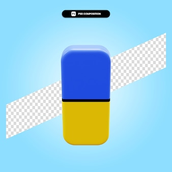 Gumka 3d render ilustracja na białym tle