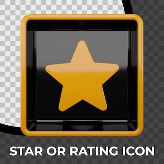 Gwiazda lub znak oceny renderowania 3d