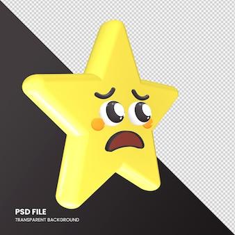 Gwiazda renderowania 3d emoji błagająca twarz na białym tle