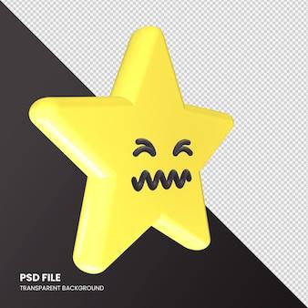 Gwiazda renderowania 3d emoji confounded face na białym tle