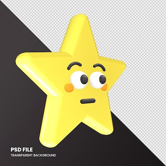 Gwiazda renderowania 3d emoji opróżniona twarz na białym tle