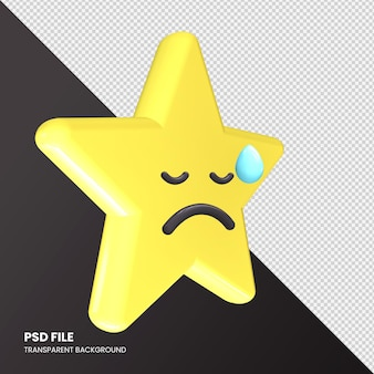 Gwiazda renderowania 3d emoji rozczarowana twarz na białym tle