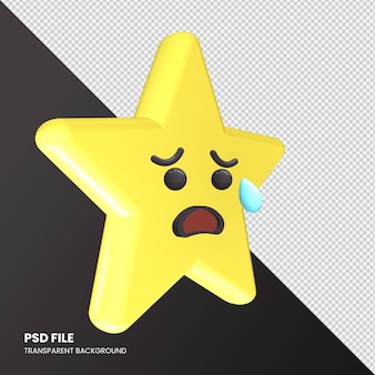 Gwiazda renderowania 3d emoji smutna, ale twarz z ulgą na białym tle