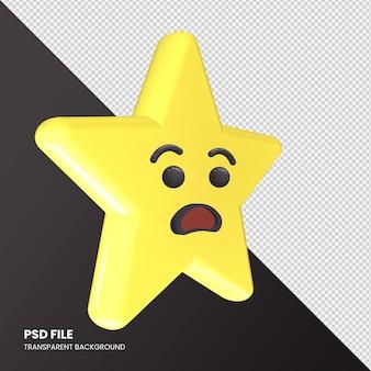 Gwiazda renderowania 3d emoji udręka twarz na białym tle