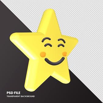 Gwiazda renderowania 3d emoji uśmiechnięta twarz na białym tle
