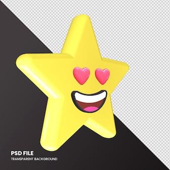 Gwiazda renderowania 3d emoji uśmiechnięta twarz z oczami serca na białym tle