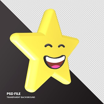 Gwiazda renderowania 3d emoji uśmiechnięta twarz z uśmiechniętymi oczami na białym tle