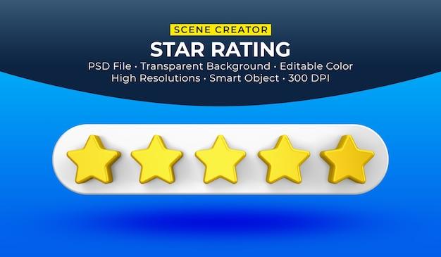 Gwiazdki ocena renderowania 3d