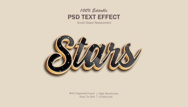 Gwiazdy stylowy efekt tekstowy psd do edycji