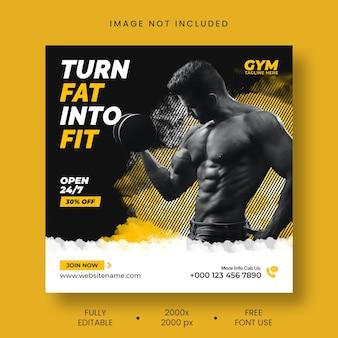 Gym fitness social media i szablon postu na instagramie