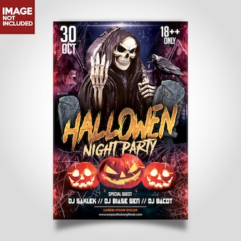 Halloween night party template flyer
