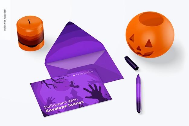Halloween z makietą sceny kopertowej, widok z góry