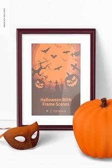 Halloween z makietą sceny w ramce, widok z przodu
