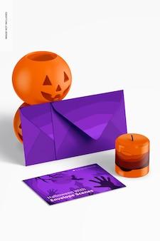 Halloween z makietą sceny z kopertami, widok z lewej strony