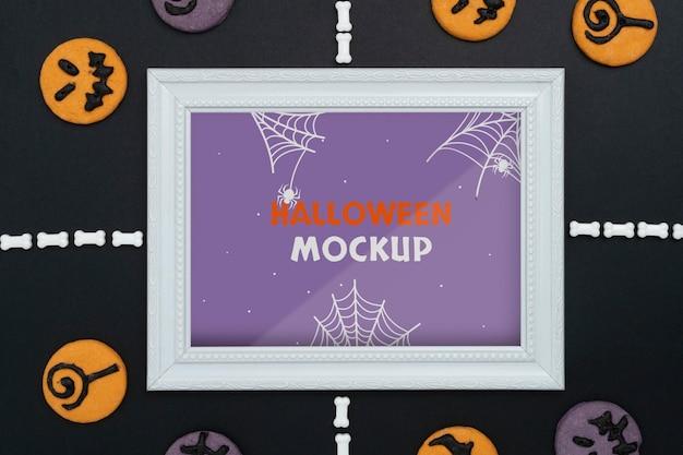 Halloweenowa aranżacja makiety granicy