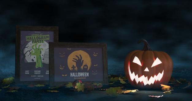 Halloweenowa aranżacja z makietą przerażających dyni i plakatów filmowych