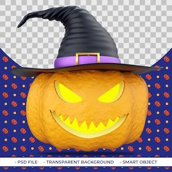 Halloweenowa dynia 3d z wyrzeźbionymi oczami i ustami w kapeluszu wiedźmy