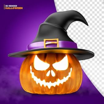 Halloweenowa dynia czarownica renderowania 3d do kompozycji