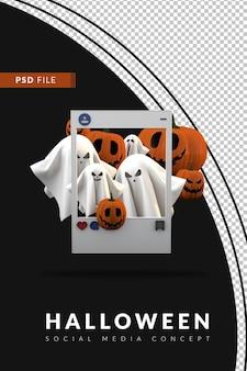 Halloweenowa impreza społecznościowa w mediach społecznościowych 3d