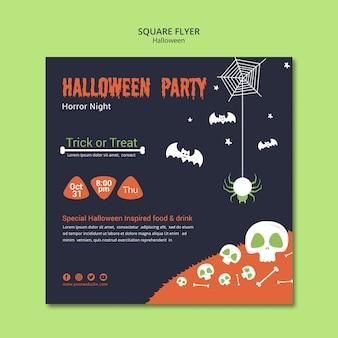 Halloweenowa impreza z czaszkami i kośćmi kwadratowa ulotka