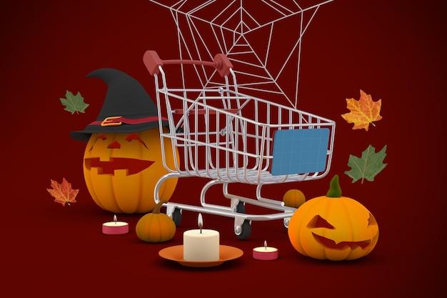 Halloweenowa makieta zakupów
