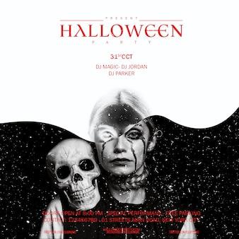 Halloweenowa makijaż kobieta patrzeje w kamerze z czaszką