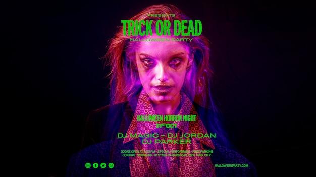 Halloweenowa sesja zdjęciowa kobiety z przerażającymi efektami
